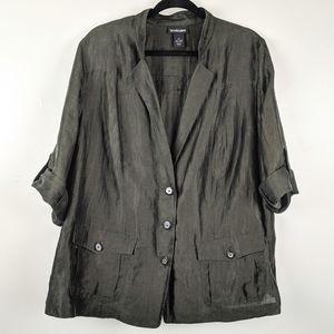 Lane Bryant Dark Green Linen Blazer Size 22
